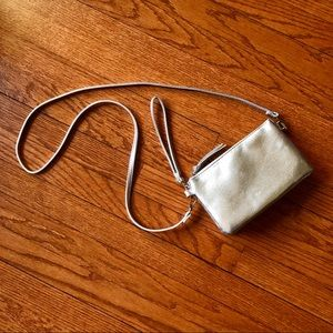 Cute silver wristlet with optional strap